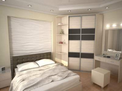 Шкаф-Купе угловой в спальную комнату+дамский столик
