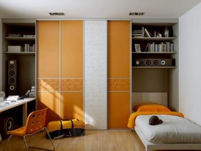 Шкаф-Купе в Детскую в Оранжевом Исполнении